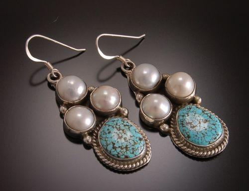 ZBM Pair of #8 Spiderweb Turquoise and Pearls Earrings by Erick Begay    TO11L