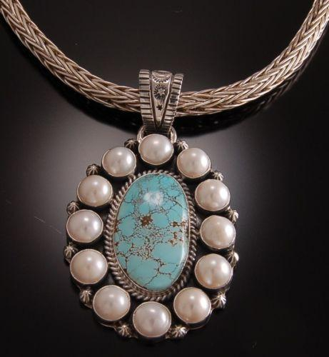 ZBM  Alluring NevadaTurquoise and Pearls Cluster Pendant by Erick Begay TO11K