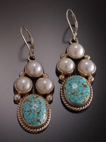 ZBM #8 Spiderweb Turquoise and Pearl LEVERBACK Dangle Earrings by Erick Begay TO81F