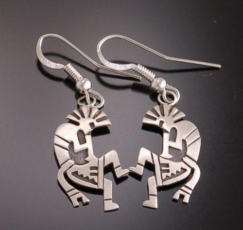 Silver Overlay Dancing Kokpelli Earrings Navajo Handmade by  Gene  L  TO41G