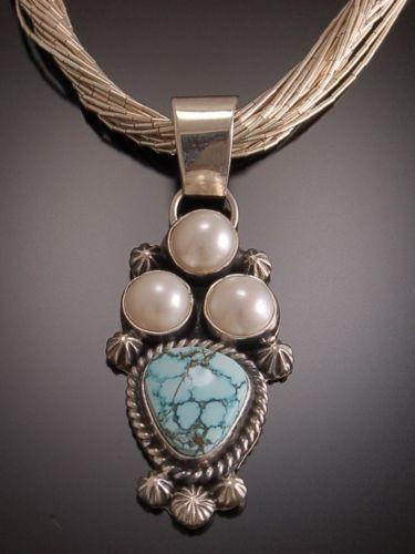 ZBM Splendid #8 Spiderweb Turquoise and Pearls Pendant by Erick Begay TO11J