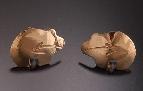 ADORABLE 14K Gold Heartline Bear Earrings by Erick Begay TO31O