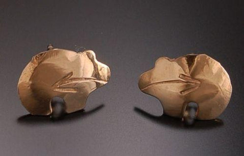 ZBM ADORABLE 14K Gold Heartline Bear Earrings by Erick Begay TO31O