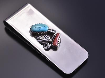 Navajo Turquoise & Coral Money Clip by Sally Arvison 7L15A