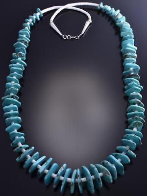 "Vintage 36"" Turquoise Nugget Thin Beads Necklace 8J02O"