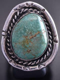 Size 10-1/4 Vintage Silver & Turquoise Round Navajo Ring 9A02B