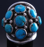 Size 6-1/2 Vintage Silver Sleeping Beauty Turquoise Dome Shape Ring 7F30K