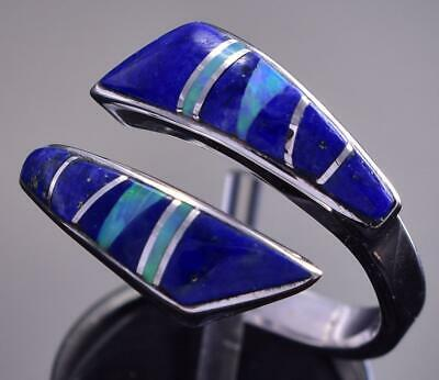 Adjustable Silver & Lapis & Opal Navajo Inlay Wrap Ring by JB 9C29E