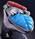 Sz 13-1/4 Silver & Turquoise & Coral Zuni Feather Men's Ring by L. Tsatte 9E15F