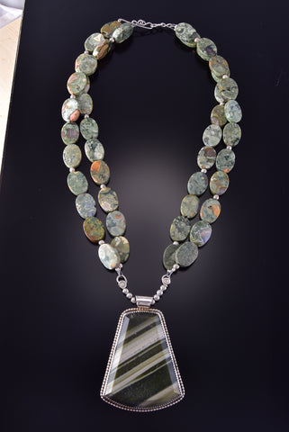Pre-Owned Olive Green Moss Agate Necklace ZM03X
