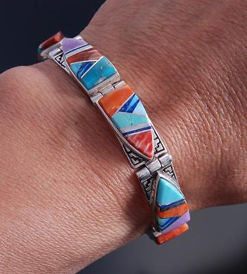 Silver Eight Link Multistone Navajo Inlay Bracelet by Billy Long 7G18H