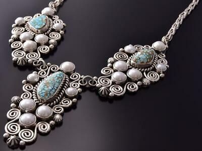 Silver #8 Spiderweb Turquoise Fresh Pearl Necklace & Earring SET E. Begay ZD07G