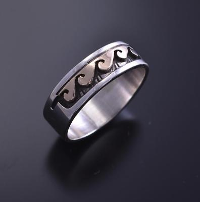 SIZE 10-1/2 - 14K Gold and Silver Water Symbol Band Ring by Peggy Skeets 8d16B-6