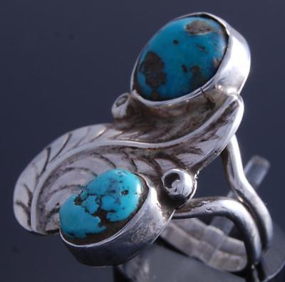 Size 6-1/4 Vintage Double Turquoise Navajo Single Feather Ring 7K07T