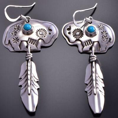 Silver & Turquoise Navajo Design Buffalo Feather Earrings Jeff James Jr. 9B28H