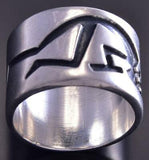 Vintage Size 8-1/4 All Silver Wide Navajo Kokopelli Ring ZG17R