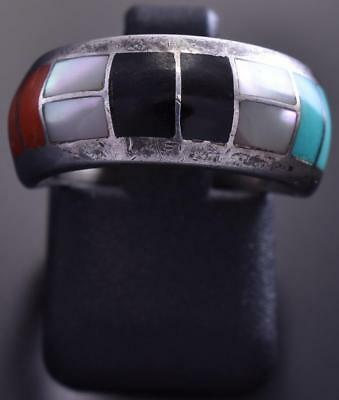 Vintage Size 5-3/4 Silver & Turquoise Multistone Navajo Inlay Dome Ring 9A02G