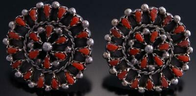 Silver Coral Petty Point Zuni Earrings by Tricia Leekity 9B18A