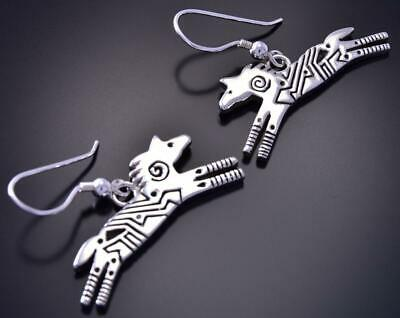 All Silver Running Free Horses Navajo Handmade Earrings by Ray Tracey 9L01L