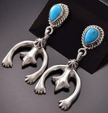 Silver & Turquoise Navajo Naja Earrings by Annie Spencer ZE06O