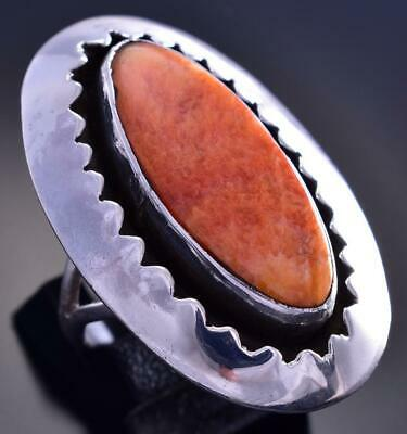 VINTAGE Size 8-1/2 Silver & Spiny Oyster Shell Oval Navajo Ring by Eagle 9F12K