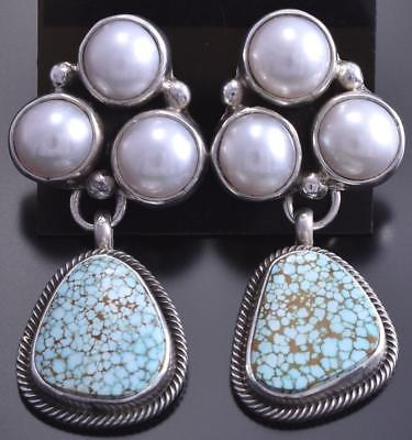 Silver #8 Spiderweb Turquoise Three Fresh Pearl Earrings by Erick Begay 8C06M