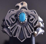 Size 6-1/4 Silver & Turquoise Navajo Eagle Ring by Danny Kenneth ZG17S