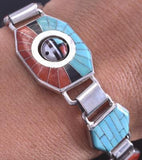 Silver & Turquoise & Coral Zuni Inlay Sunface Link Bracelet by Don Dewa 8J26A