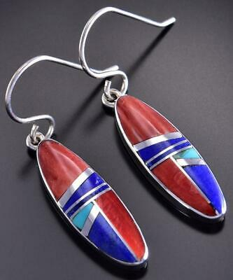 Silver & Spiny Oyster Shell Multistone Navajo Inlay Earrings by C. Webster 1C16G