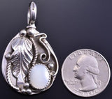 Reversible Silver & Turquoise Mother of Pearl Medium Pendant by Gary Henry 8E23J
