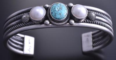Silver & #8 Spiderweb Fresh Pearl Equal Width Bracelet by Erick Begay 8C06E