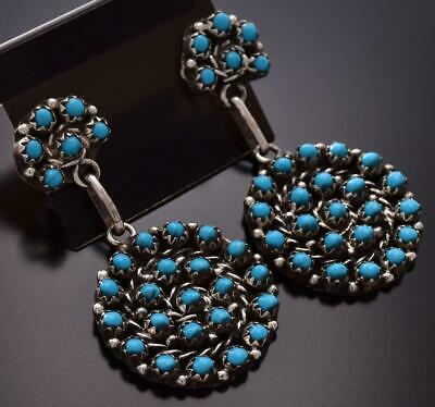 Silver & Turquoise Zuni Petty Point Round Dangle Earrings by R. Hozee ZD07V
