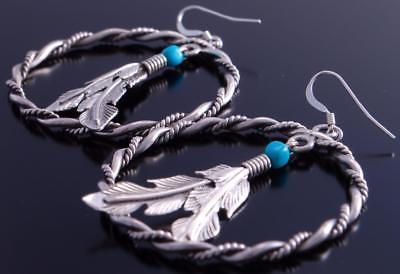 Silver & Turquoise Nugget & Feather Earrings by Louise Joe 7A28D