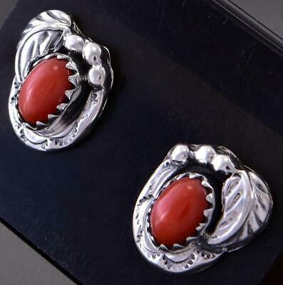 Silver & Mediterranean Coral Small Feather Navajo Earrings Elaine Shirley 1C31W