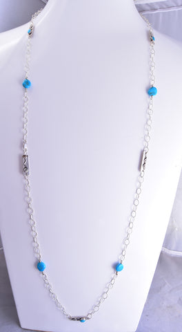 "44"" Silver & Turquoise Nugget Pendant Long Navajo Necklace by Erick Begay ZG31H"