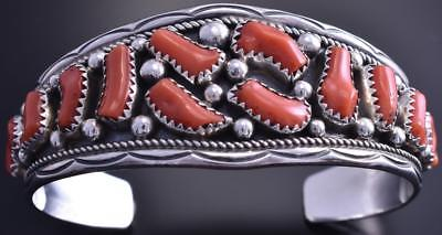 Vintage Silver Mediterranean Coral Navajo Bunch Wide Center Bracelet by IC 7L29T
