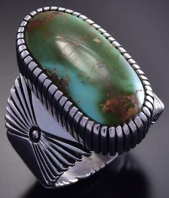 Size 14-1/4 Silver & Royston Oval Navajo Men's Ring by Erick Begay 9K17B