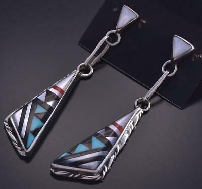 Silver & Turquoise Multistone Zuni Inlay Long Earrings by Sylvester Boone ZG15X