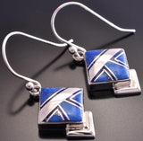 Silver & Lapis Navajo Inlay Diamond Shaped Earrings by EA 8K16G