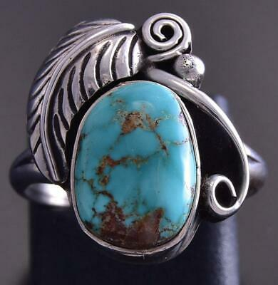 Vintage Size 5 Silver & Turquoise Large Feather Navajo Ring ZG23T