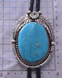Silver & Kingman Turquoise & Feathers Navajo Bolo Tie by Betta Lee ZA28Q