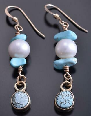 14k & #8 Spiderweb Turquoise Fresh Water Pearl Dangle Earrings Erick Begay 8C12G
