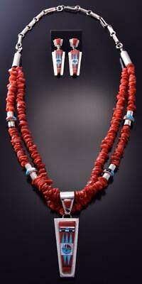 Silver Coral Multistone Zuni Inlay Sunface Necklace & Earring by Edaakie ZC03B