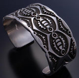 All Silver Bold Navajo Men's Stamp Design Bracelet by Jarold Bahe 7C24D
