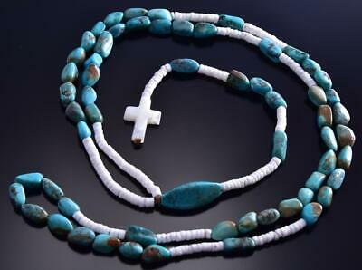 "40"" Turquoise & White Clam Shell Rosary Cross Santo Domingo Randy Garcia 9F26S"