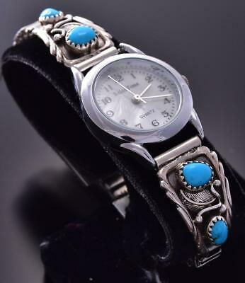 Silver & Turquoise Double Feathers Navajo Handmade Women's Watch ZA22M