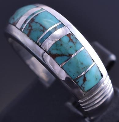 Size 10 Silver & Turquoise Navajo Inlay Domed Mens Ring by Stoneweaver 8J26F