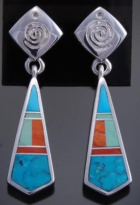 Silver Turquoise Multistone Navajo Inlay Feather Earrings by Ray Tracey 7K16L