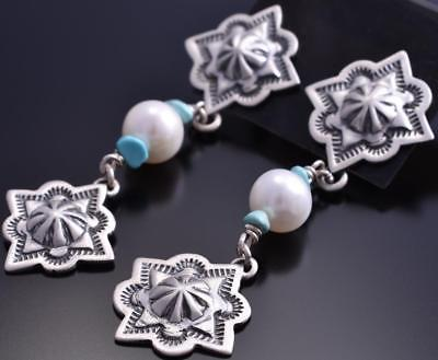 ZBM Silver & Turquoise & Fresh Water Pearl Navajo Concho Earrings Erick Begay 8G30K