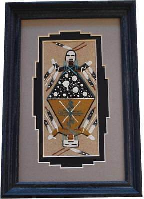 Navajo Sand Painting by Glen Nez 8C15V - 9-1/4 x 6-1/4